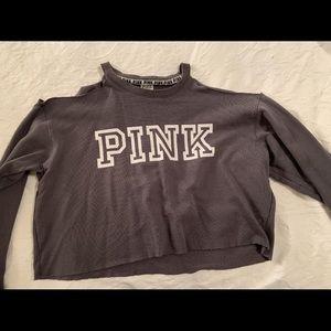 Open Shoulder Pink Crop Sweater